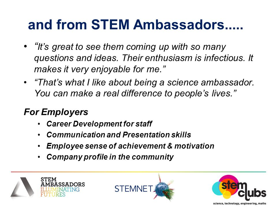 and from STEM Ambassadors..... It's great to see them coming up with so many questions and ideas.