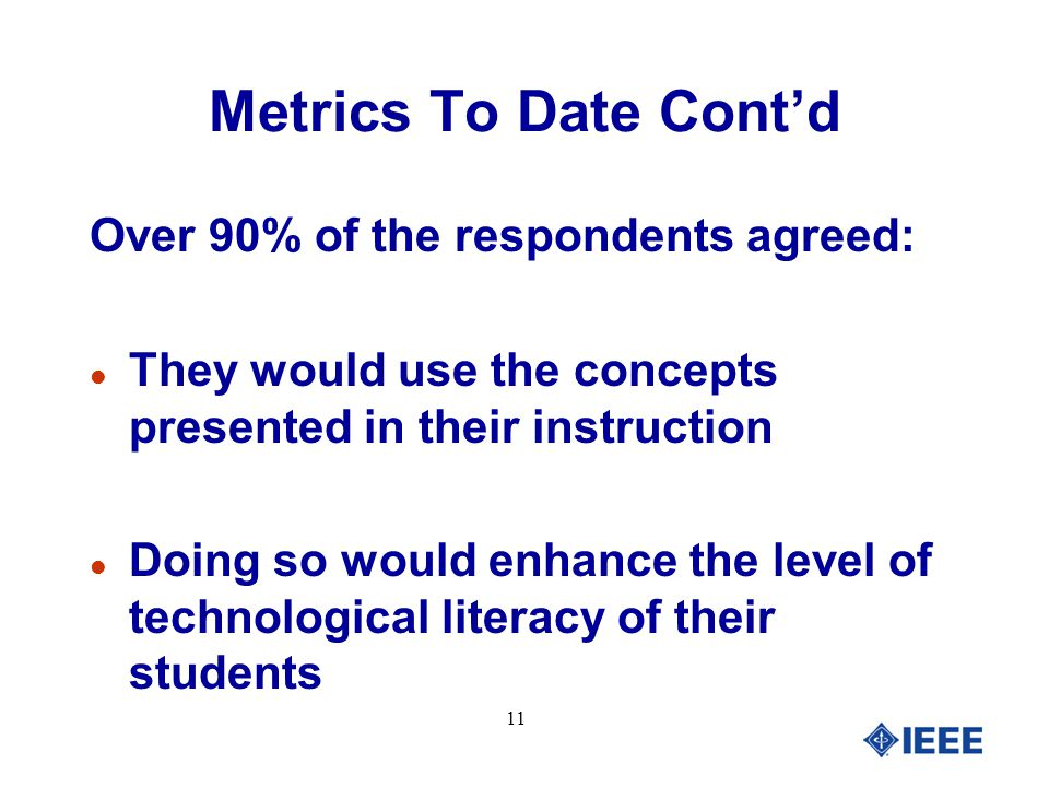 11 Metrics To Date Cont'd Over 90% of the respondents agreed: l They would use the concepts presented in their instruction l Doing so would enhance the level of technological literacy of their students