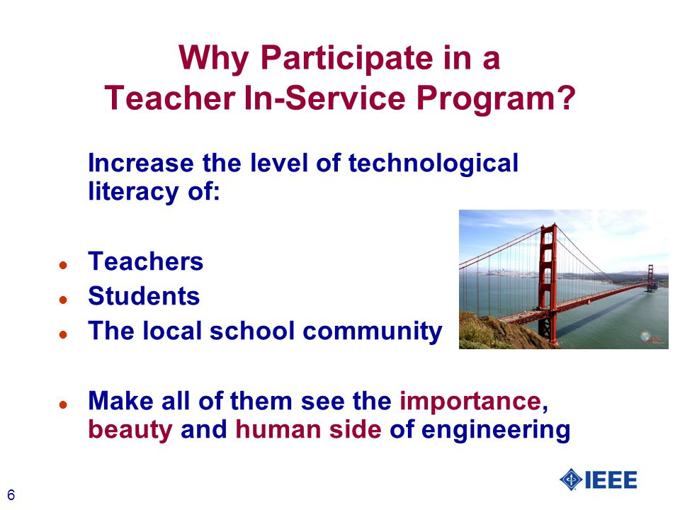 7 Why Participate in a Teacher In-Service Program.