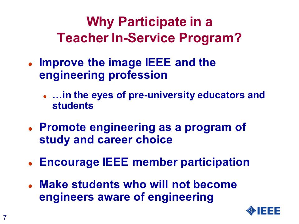 8 Have fun Why Participate in a Teacher In-Service Program?