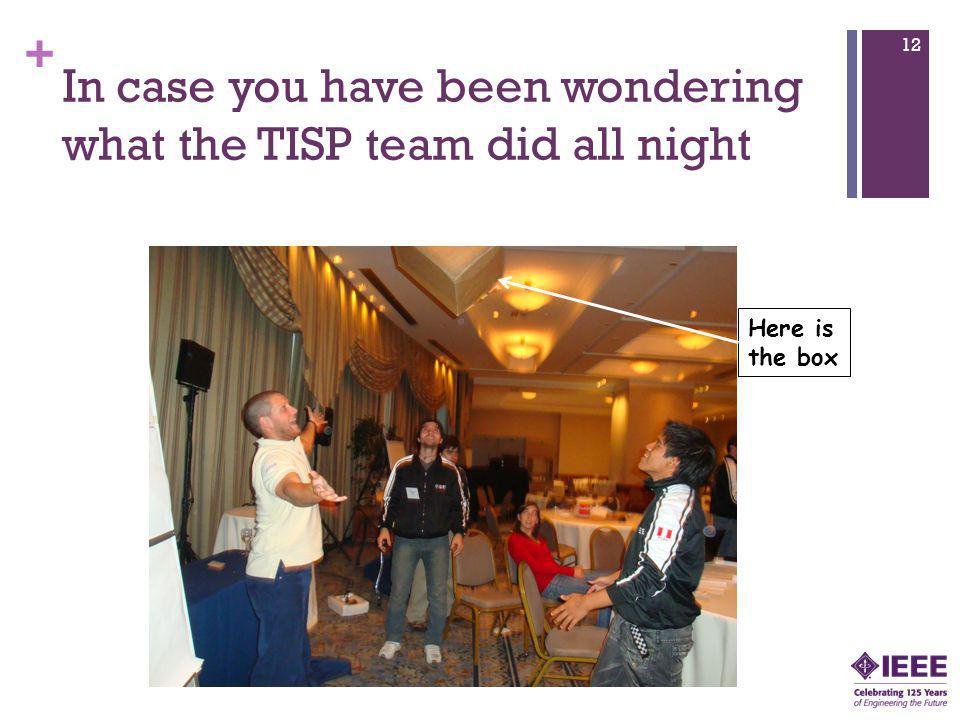 + In case you have been wondering what the TISP team did all night 12 Here is the box