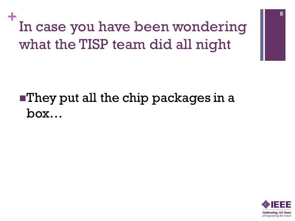 + In case you have been wondering what the TISP team did all night They put all the chip packages in a box… 8