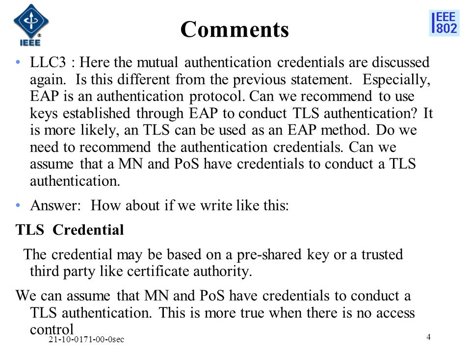Comments LLC3 : Here the mutual authentication credentials are discussed again.
