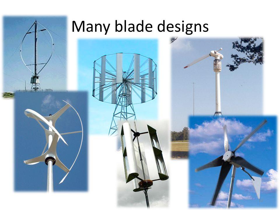Many blade designs 12