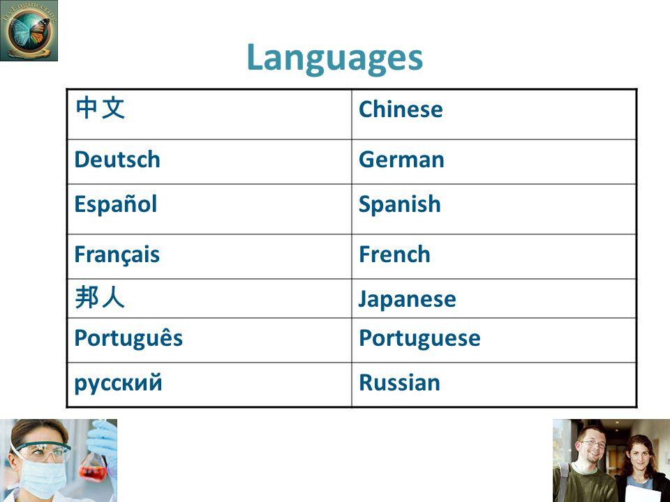 Languages 中文 Chinese DeutschGerman EspañolSpanish FrançaisFrench 邦人 Japanese PortuguêsPortuguese русскийRussian