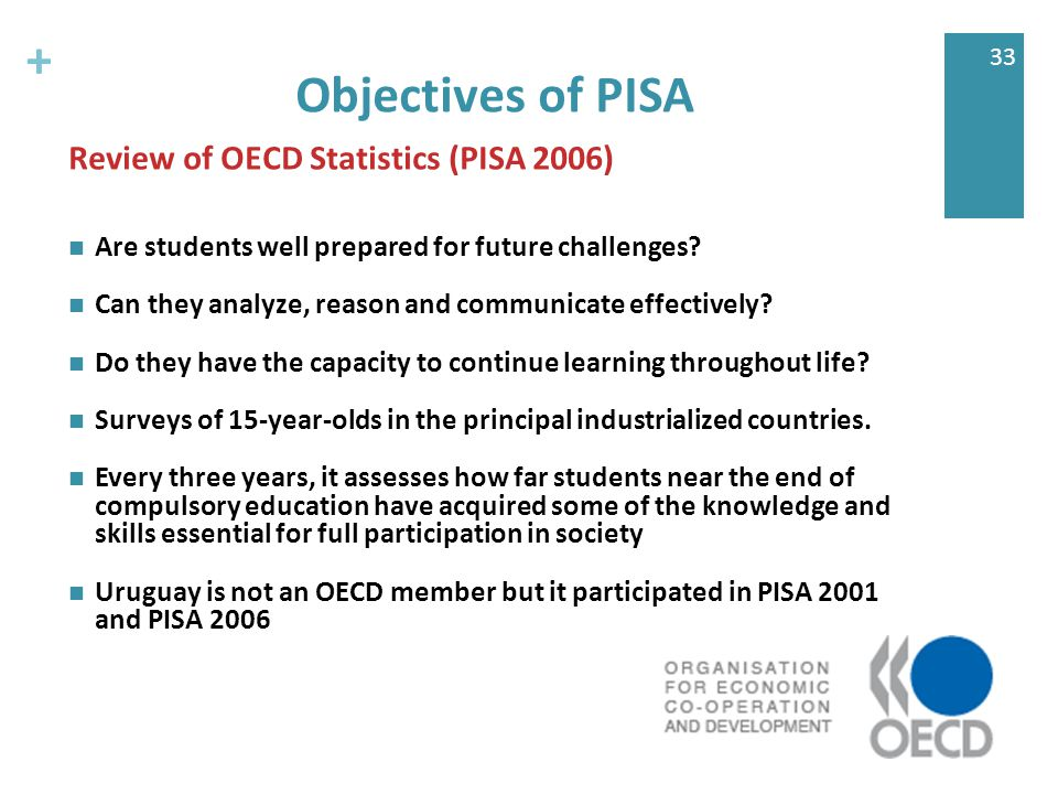 + 33 Objectives of PISA Are students well prepared for future challenges.