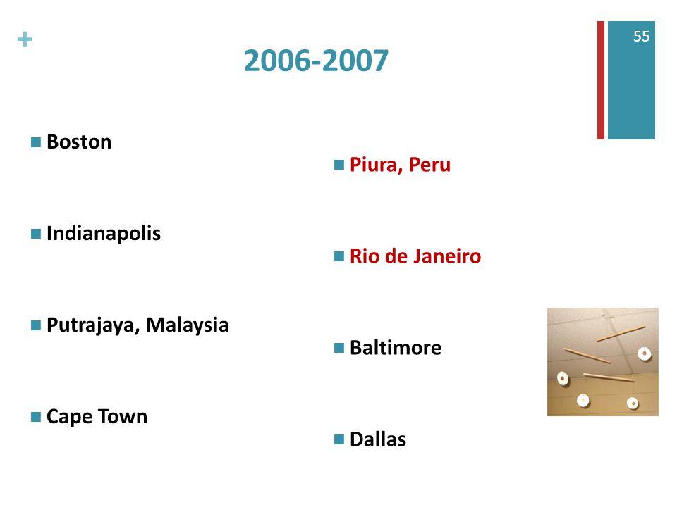 + 55 2006-2007 Boston Indianapolis Putrajaya, Malaysia Cape Town Piura, Peru Rio de Janeiro Baltimore Dallas