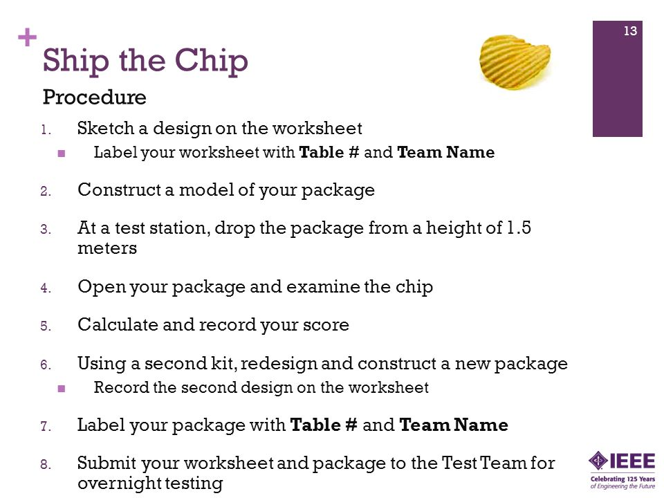 + Ship the Chip 1. Sketch a design on the worksheet Label your worksheet with Table # and Team Name 2. Construct a model of your package 3. At a test