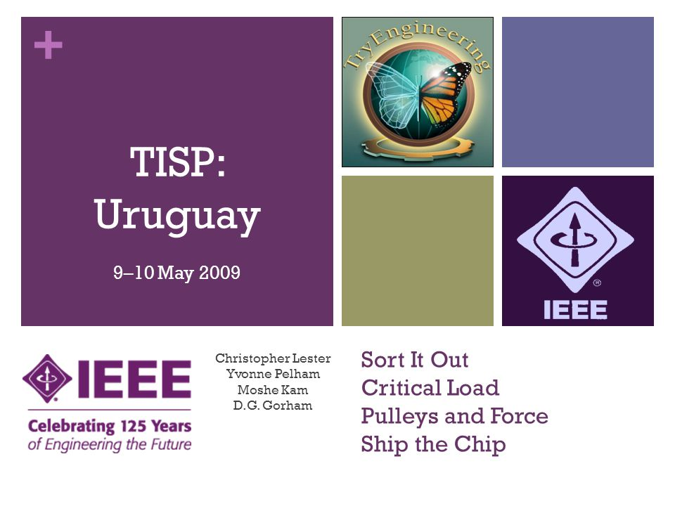 + Sort It Out Critical Load Pulleys and Force Ship the Chip Christopher Lester Yvonne Pelham Moshe Kam D.G. Gorham TISP: Uruguay 9–10 May 2009