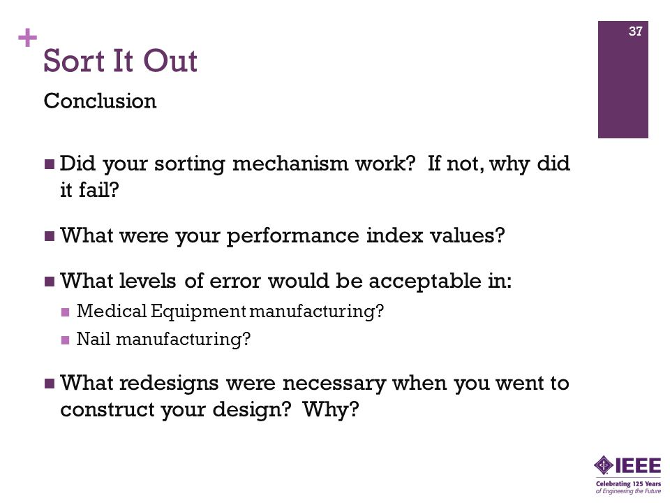 + Sort It Out Did your sorting mechanism work. If not, why did it fail.