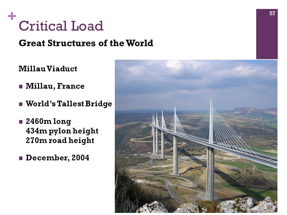+ Millau Viaduct Millau, France World's Tallest Bridge 2460m long 434m pylon height 270m road height December, 2004 Critical Load Great Structures of