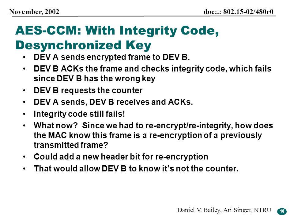 10 November, 2002 doc:.: 802.15-02/480r0 Daniel V. Bailey, Ari Singer, NTRU 10 DEV A sends encrypted frame to DEV B. DEV B ACKs the frame and checks i