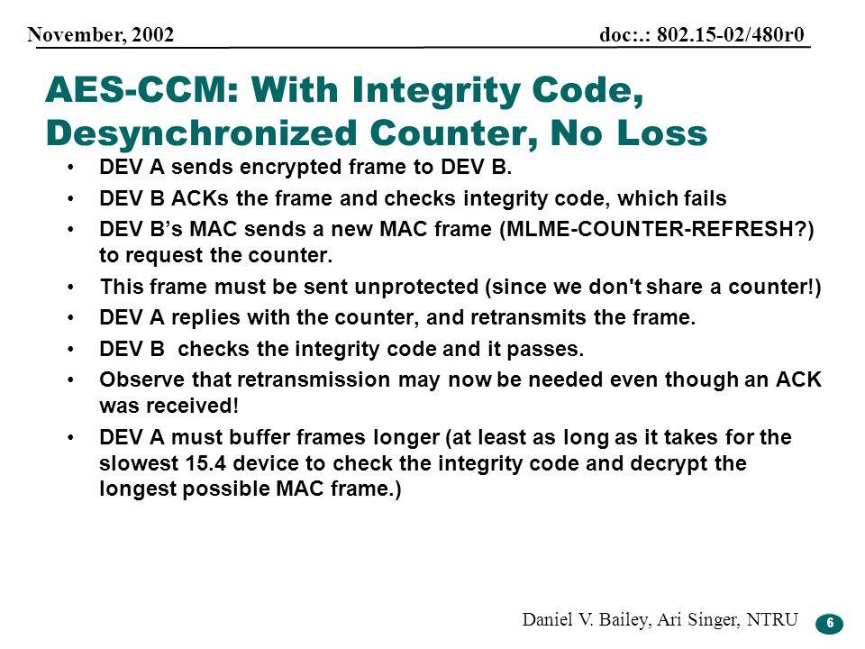 6 November, 2002 doc:.: 802.15-02/480r0 Daniel V. Bailey, Ari Singer, NTRU 6 DEV A sends encrypted frame to DEV B. DEV B ACKs the frame and checks int