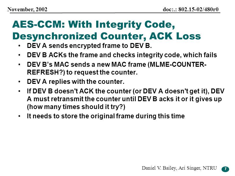 7 November, 2002 doc:.: 802.15-02/480r0 Daniel V. Bailey, Ari Singer, NTRU 7 DEV A sends encrypted frame to DEV B. DEV B ACKs the frame and checks int