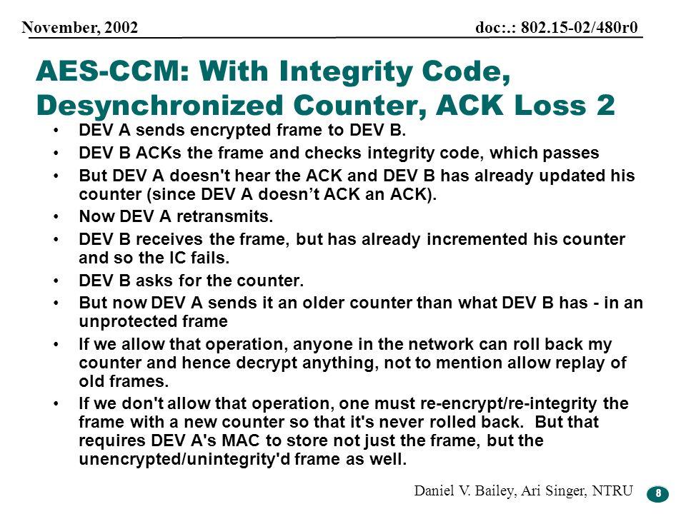 8 November, 2002 doc:.: 802.15-02/480r0 Daniel V. Bailey, Ari Singer, NTRU 8 DEV A sends encrypted frame to DEV B. DEV B ACKs the frame and checks int