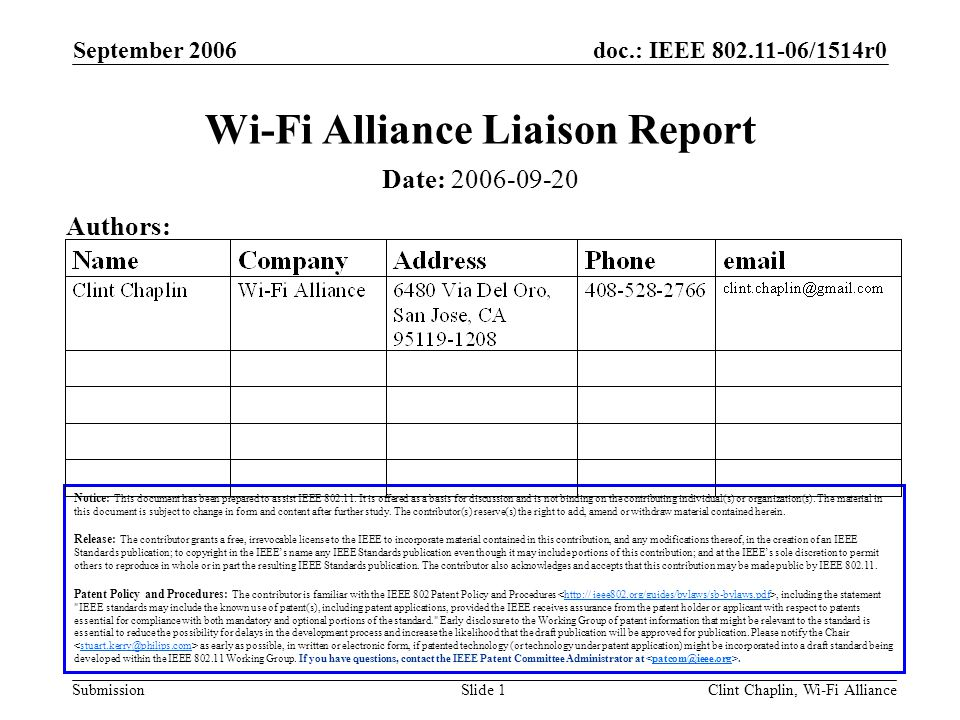 doc.: IEEE 802.11-06/1514r0 Submission September 2006 Clint Chaplin, Wi-Fi AllianceSlide 1 Wi-Fi Alliance Liaison Report Notice: This document has bee