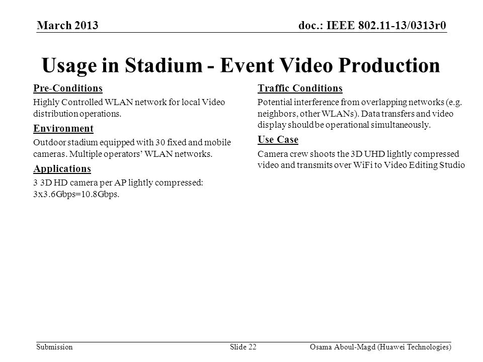 doc.: IEEE 802.11-13/0313r0 Submission March 2013 Osama Aboul-Magd (Huawei Technologies)Slide 22 Usage in Stadium - Event Video Production Pre-Conditions Highly Controlled WLAN network for local Video distribution operations.