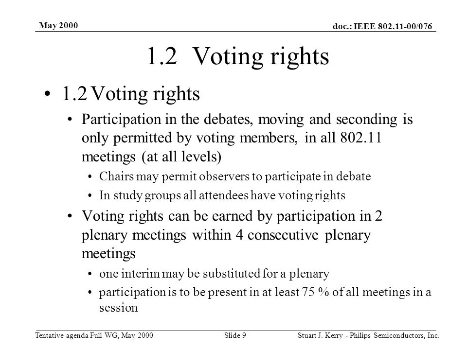 doc.: IEEE 802.11-00/076 Tentative agenda Full WG, May 2000 May 2000 Stuart J. Kerry - Philips Semiconductors, Inc.Slide 9 1.2Voting rights Participat