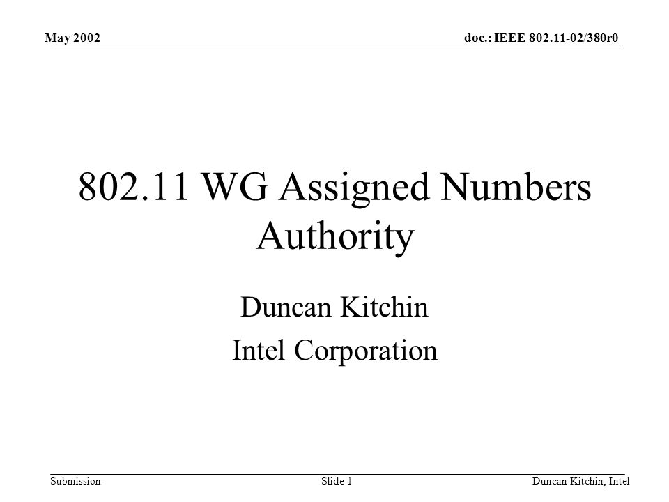 doc.: IEEE /380r0 Submission May 2002 Duncan Kitchin, IntelSlide WG Assigned Numbers Authority Duncan Kitchin Intel Corporation
