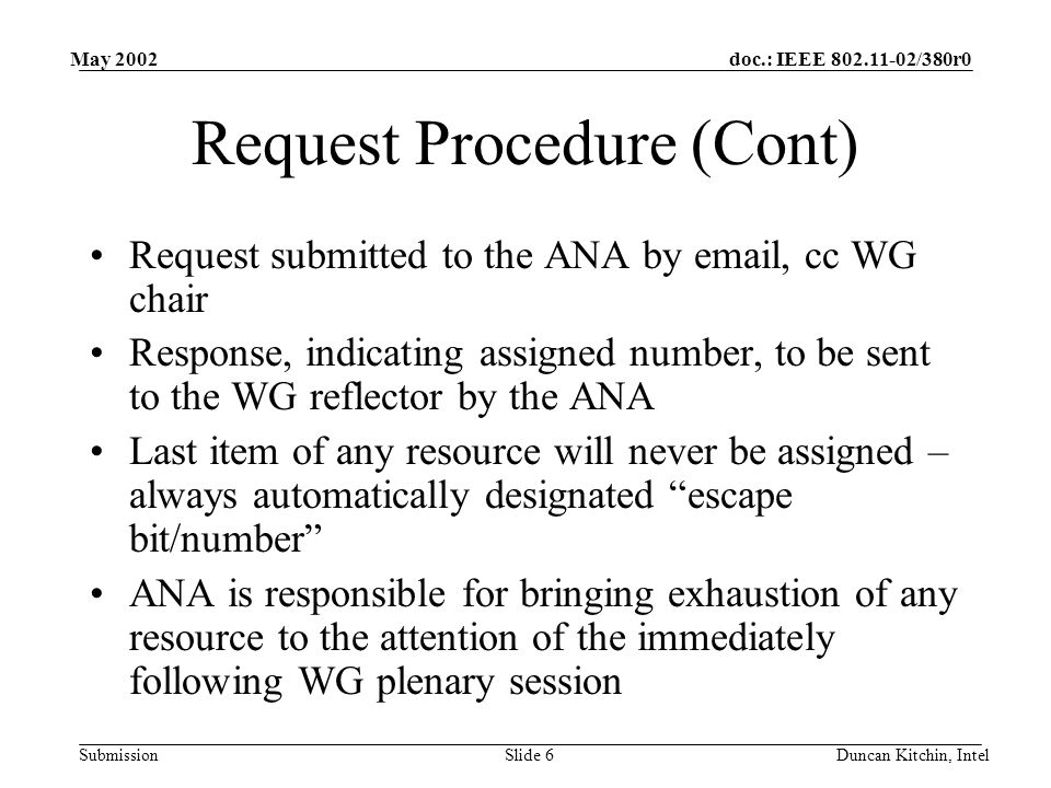 doc.: IEEE /380r0 Submission May 2002 Duncan Kitchin, IntelSlide 6 Request Procedure (Cont) Request submitted to the ANA by  , cc WG chair Response, indicating assigned number, to be sent to the WG reflector by the ANA Last item of any resource will never be assigned – always automatically designated escape bit/number ANA is responsible for bringing exhaustion of any resource to the attention of the immediately following WG plenary session