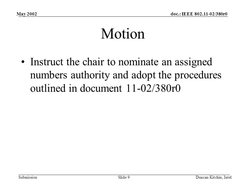 doc.: IEEE /380r0 Submission May 2002 Duncan Kitchin, IntelSlide 9 Motion Instruct the chair to nominate an assigned numbers authority and adopt the procedures outlined in document 11-02/380r0