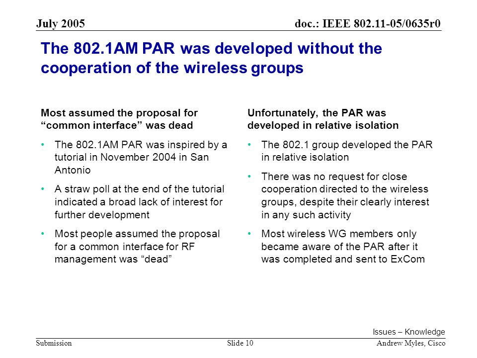 doc.: IEEE /0635r0 Submission July 2005 Andrew Myles, CiscoSlide 10 The 802.1AM PAR was developed without the cooperation of the wireless groups Most assumed the proposal for common interface was dead The 802.1AM PAR was inspired by a tutorial in November 2004 in San Antonio A straw poll at the end of the tutorial indicated a broad lack of interest for further development Most people assumed the proposal for a common interface for RF management was dead Unfortunately, the PAR was developed in relative isolation The group developed the PAR in relative isolation There was no request for close cooperation directed to the wireless groups, despite their clearly interest in any such activity Most wireless WG members only became aware of the PAR after it was completed and sent to ExCom Issues – Knowledge