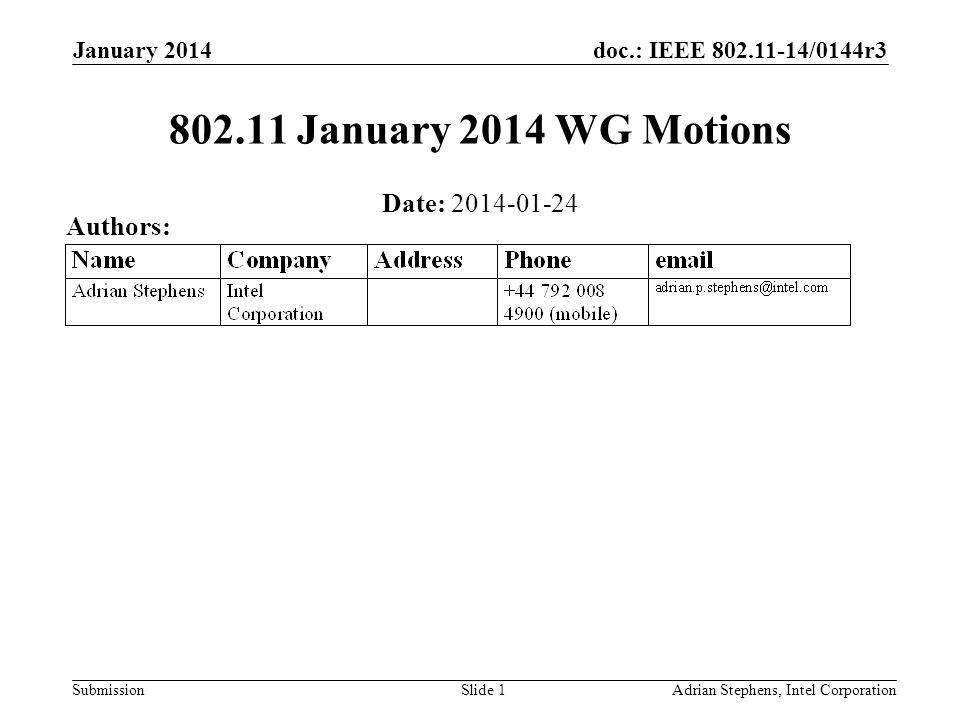 doc.: IEEE /0144r3 Submission January 2014 Adrian Stephens, Intel CorporationSlide January 2014 WG Motions Date: Authors: