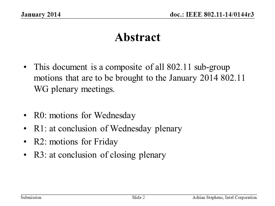 doc.: IEEE 802.11-14/0144r3 Submission WEDNESDAY January 2014 Adrian Stephens, Intel CorporationSlide 3