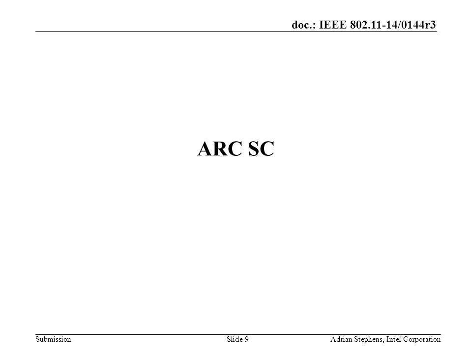 doc.: IEEE /0144r3 Submission ARC SC Adrian Stephens, Intel CorporationSlide 9