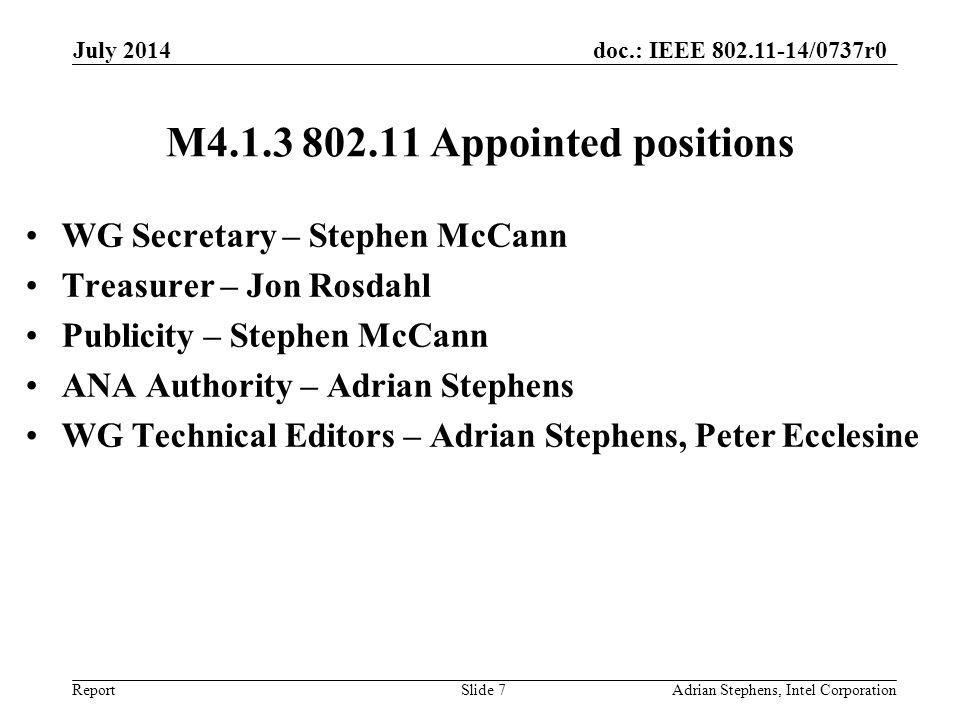 doc.: IEEE 802.11-14/0737r0 Report July 2014 M4.1.3 802.11 Appointed positions WG Secretary – Stephen McCann Treasurer – Jon Rosdahl Publicity – Steph