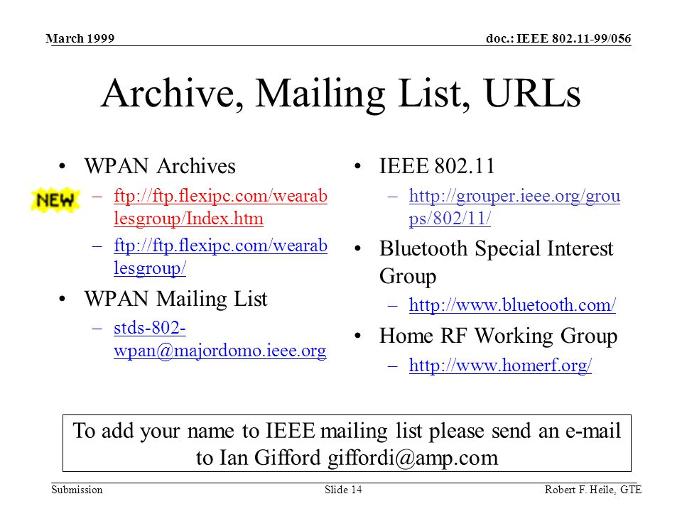 doc.: IEEE /056 Submission March 1999 Robert F.