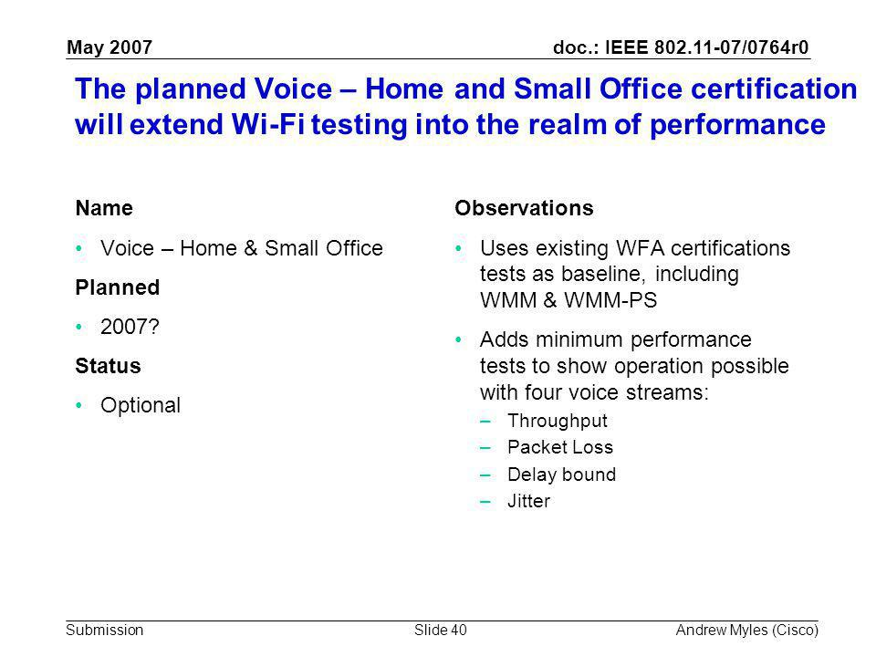 doc.: IEEE 802.11-07/0764r0 Submission May 2007 Andrew Myles (Cisco)Slide 40 The planned Voice – Home and Small Office certification will extend Wi-Fi