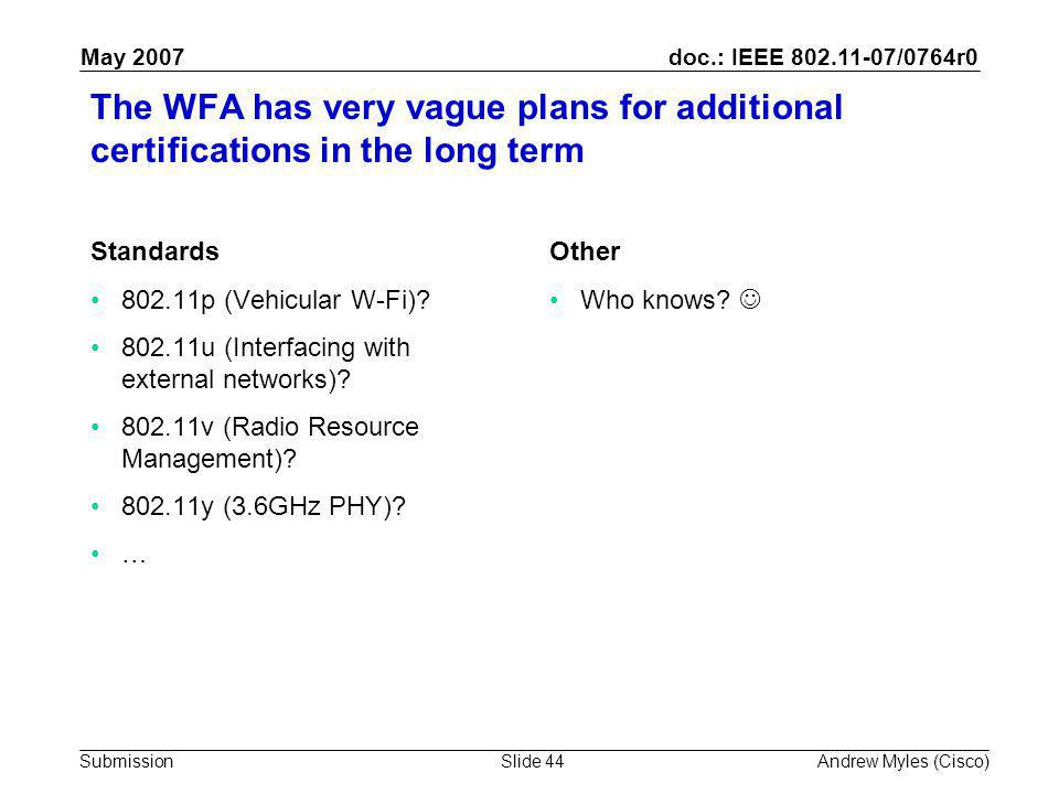 doc.: IEEE 802.11-07/0764r0 Submission May 2007 Andrew Myles (Cisco)Slide 44 The WFA has very vague plans for additional certifications in the long term Standards 802.11p (Vehicular W-Fi).