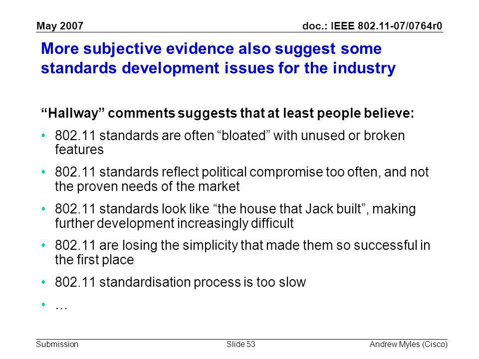doc.: IEEE 802.11-07/0764r0 Submission May 2007 Andrew Myles (Cisco)Slide 53 More subjective evidence also suggest some standards development issues for the industry Hallway comments suggests that at least people believe: 802.11 standards are often bloated with unused or broken features 802.11 standards reflect political compromise too often, and not the proven needs of the market 802.11 standards look like the house that Jack built , making further development increasingly difficult 802.11 are losing the simplicity that made them so successful in the first place 802.11 standardisation process is too slow …