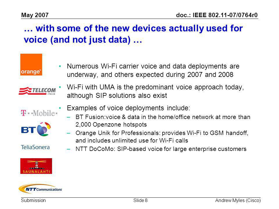 doc.: IEEE 802.11-07/0764r0 Submission May 2007 Andrew Myles (Cisco)Slide 8 … with some of the new devices actually used for voice (and not just data) … Numerous Wi-Fi carrier voice and data deployments are underway, and others expected during 2007 and 2008 Wi-Fi with UMA is the predominant voice approach today, although SIP solutions also exist Examples of voice deployments include: –BT Fusion:voice & data in the home/office network at more than 2,000 Openzone hotspots –Orange Unik for Professionals: provides Wi-Fi to GSM handoff, and includes unlimited use for Wi-Fi calls –NTT DoCoMo: SIP-based voice for large enterprise customers