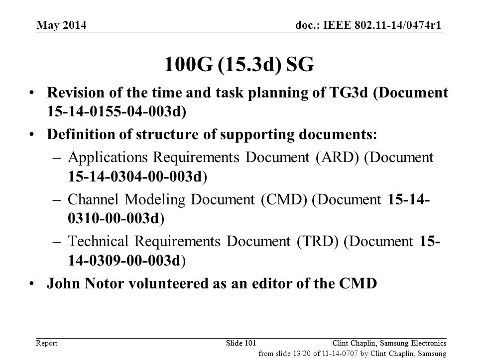 doc.: IEEE 802.11-14/0474r1 Report May 2014 Clint Chaplin, Samsung ElectronicsSlide 101 100G (15.3d) SG Revision of the time and task planning of TG3d