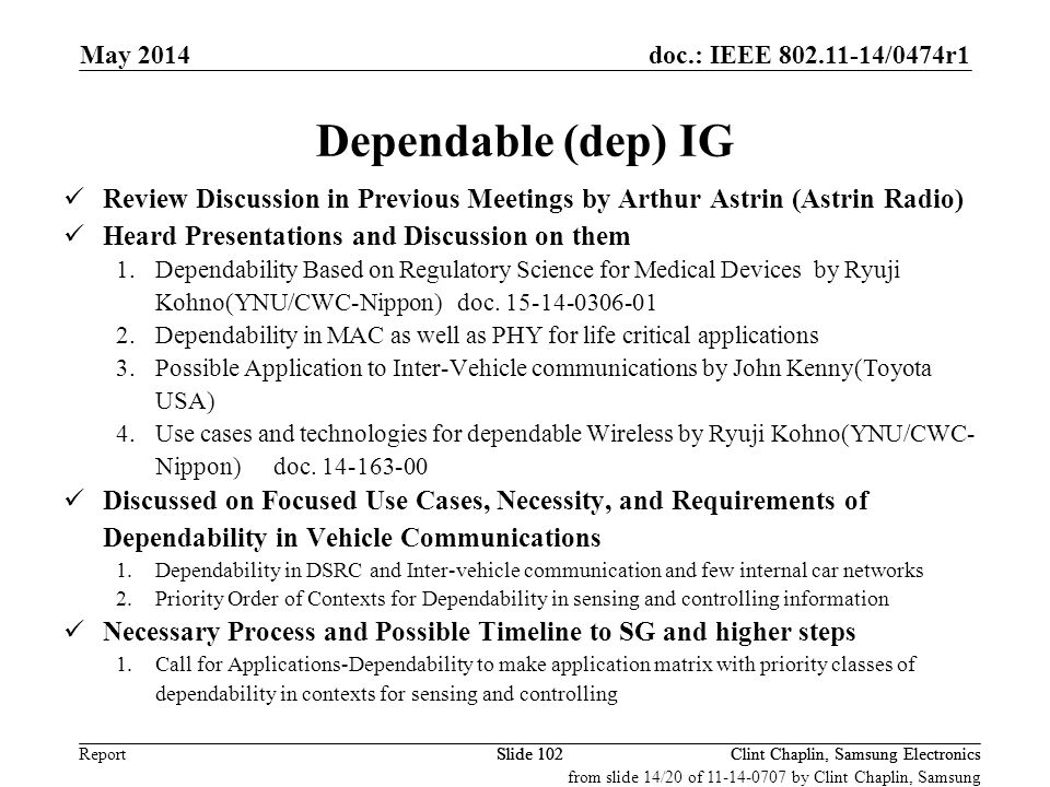 doc.: IEEE 802.11-14/0474r1 Report May 2014 Clint Chaplin, Samsung ElectronicsSlide 102 Dependable (dep) IG Review Discussion in Previous Meetings by