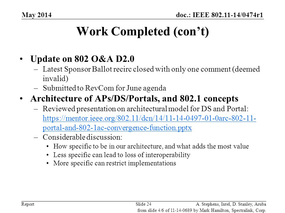 doc.: IEEE 802.11-14/0474r1 ReportA. Stephens, Intel, D. Stanley, ArubaSlide 24 Work Completed (con't) Update on 802 O&A D2.0 –Latest Sponsor Ballot r