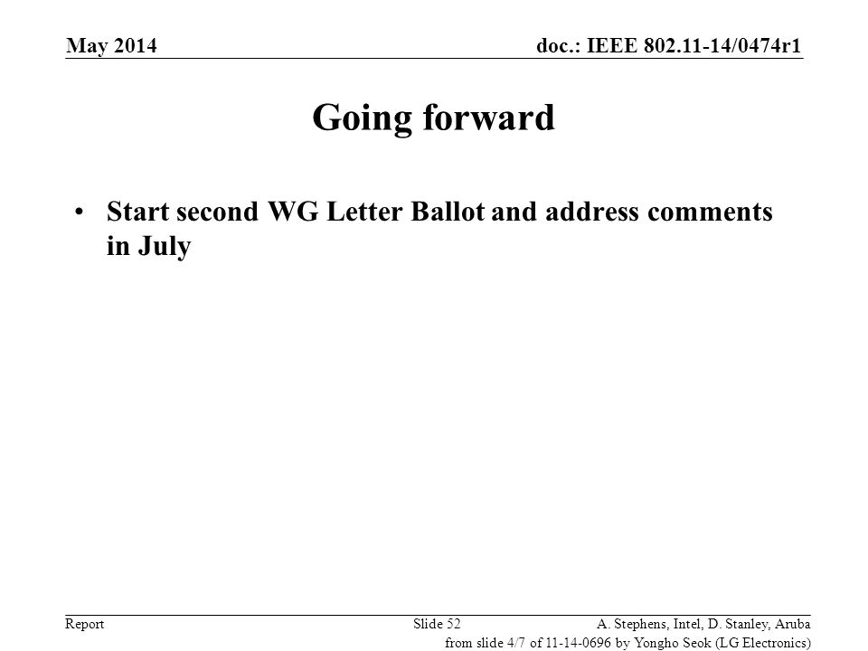 doc.: IEEE 802.11-14/0474r1 Report Going forward Start second WG Letter Ballot and address comments in July Slide 52A. Stephens, Intel, D. Stanley, Ar