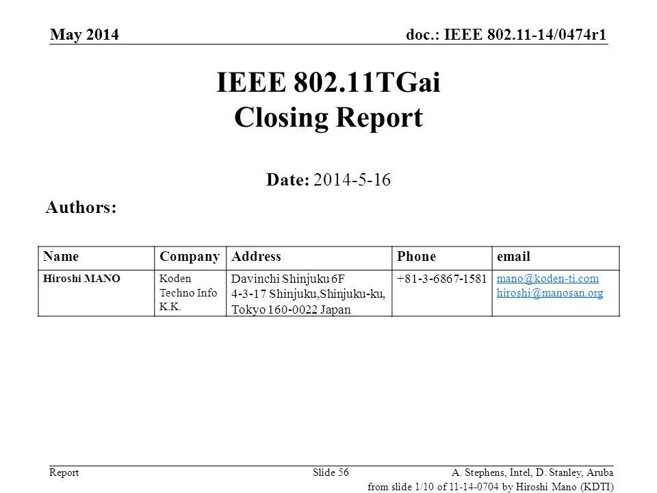 doc.: IEEE 802.11-14/0474r1 Report IEEE 802.11TGai Closing Report Date: 2014-5-16 Authors: NameCompanyAddressPhoneemail Hiroshi MANOKoden Techno Info K.K.