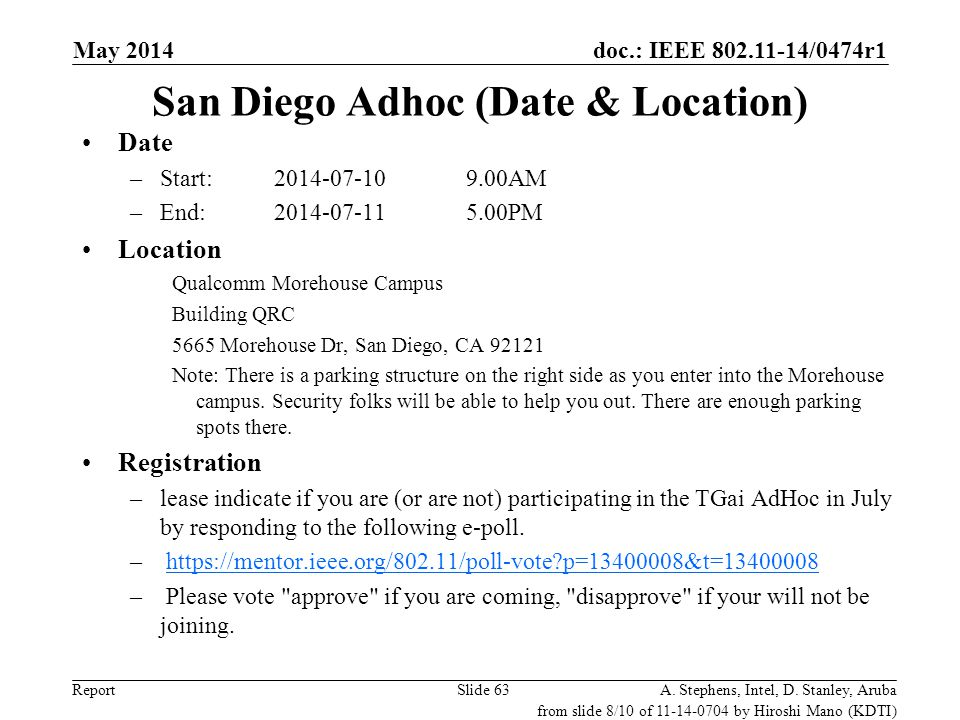 doc.: IEEE 802.11-14/0474r1 Report May 2014 A. Stephens, Intel, D. Stanley, ArubaSlide 63 San Diego Adhoc (Date & Location) Date –Start: 2014-07-109.0