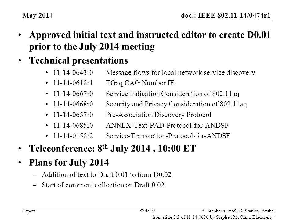 doc.: IEEE 802.11-14/0474r1 ReportA.Stephens, Intel, D.