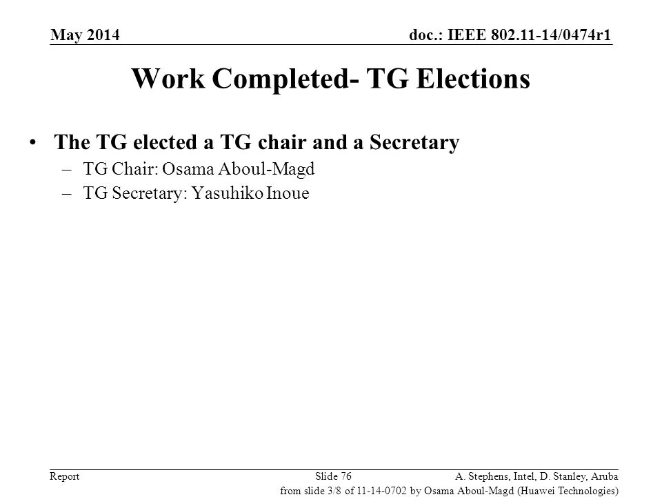 doc.: IEEE 802.11-14/0474r1 Report Work Completed- TG Elections The TG elected a TG chair and a Secretary –TG Chair: Osama Aboul-Magd –TG Secretary: Y