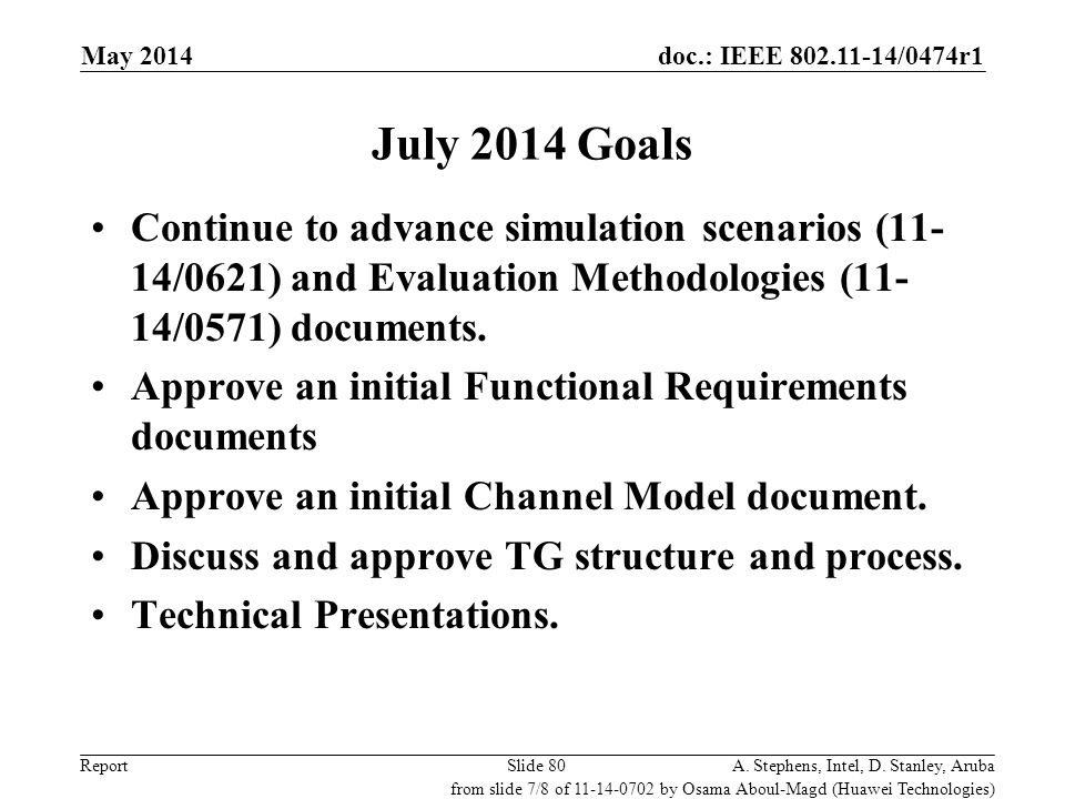 doc.: IEEE 802.11-14/0474r1 ReportA. Stephens, Intel, D. Stanley, ArubaSlide 80 July 2014 Goals Continue to advance simulation scenarios (11- 14/0621)