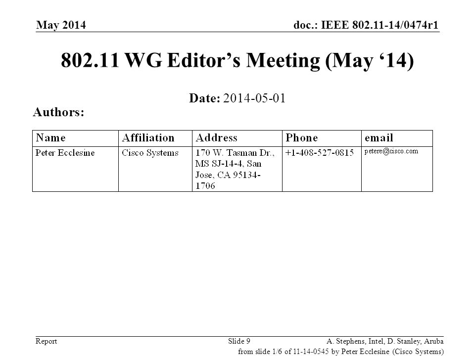 doc.: IEEE 802.11-14/0474r1 ReportSlide 9 802.11 WG Editor's Meeting (May '14) Date: 2014-05-01 Authors: A. Stephens, Intel, D. Stanley, Aruba from sl