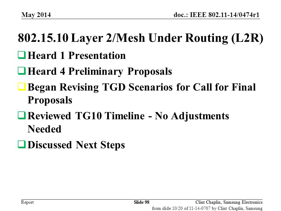doc.: IEEE 802.11-14/0474r1 Report May 2014 Clint Chaplin, Samsung ElectronicsSlide 98 802.15.10 Layer 2/Mesh Under Routing (L2R)  Heard 1 Presentati