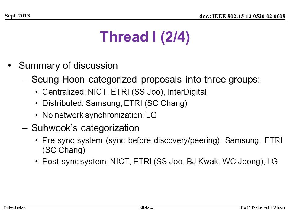 doc.: IEEE 802.15-13-0520-02-0008 Submission Thread I (2/4) Summary of discussion –Seung-Hoon categorized proposals into three groups: Centralized: NI