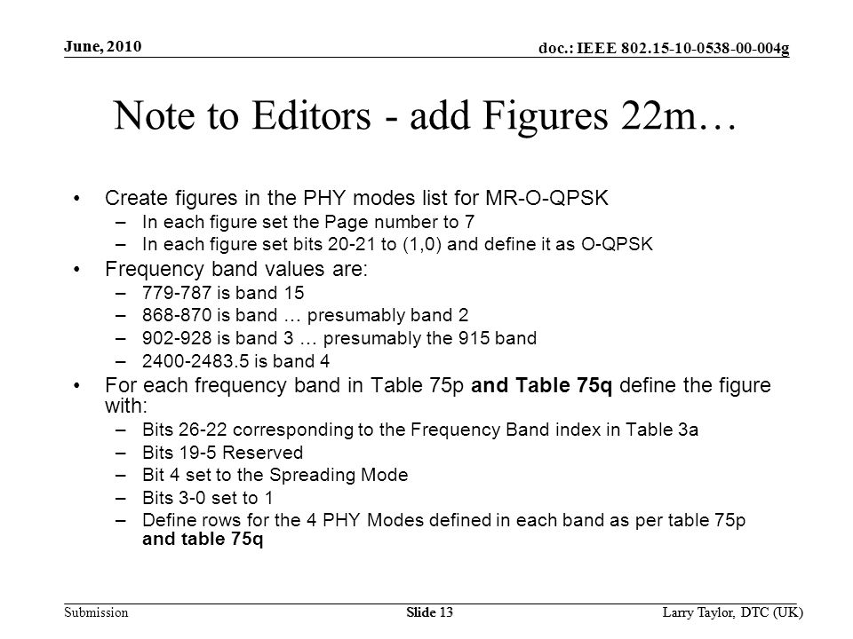 doc.: IEEE g Submission June, 2010 Larry Taylor, DTC (UK)Slide 13 June, 2010 Larry Taylor, DTC (UK)Slide 13 Note to Editors - add Figures 22m… Create figures in the PHY modes list for MR-O-QPSK –In each figure set the Page number to 7 –In each figure set bits to (1,0) and define it as O-QPSK Frequency band values are: – is band 15 – is band … presumably band 2 – is band 3 … presumably the 915 band – is band 4 For each frequency band in Table 75p and Table 75q define the figure with: –Bits corresponding to the Frequency Band index in Table 3a –Bits 19-5 Reserved –Bit 4 set to the Spreading Mode –Bits 3-0 set to 1 –Define rows for the 4 PHY Modes defined in each band as per table 75p and table 75q