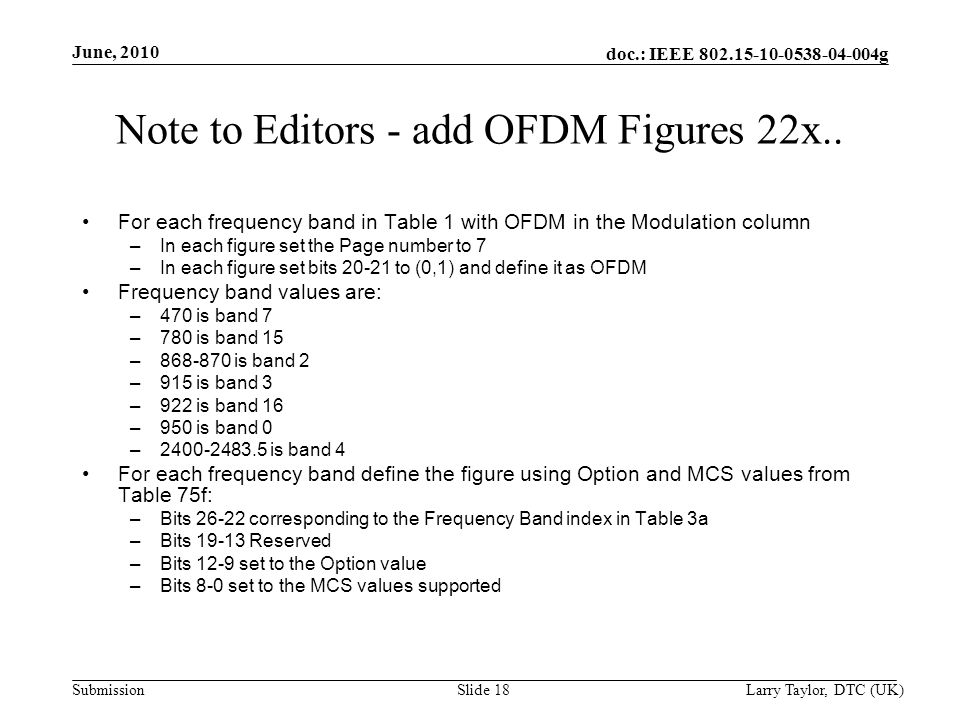 doc.: IEEE 802.15-10-0538-04-004g Submission June, 2010 Larry Taylor, DTC (UK)Slide 18 Note to Editors - add OFDM Figures 22x..