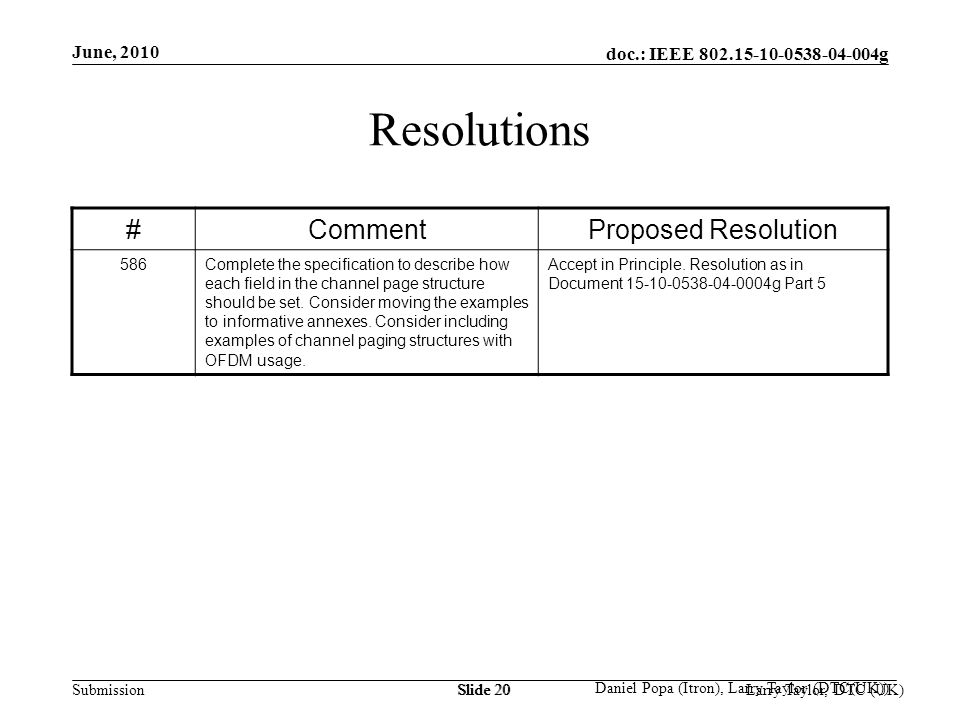 doc.: IEEE 802.15-10-0538-04-004g Submission June, 2010 Larry Taylor, DTC (UK)Slide 20 Daniel Popa (Itron), Larry Taylor (DTC(UK)) Slide 20 Resolution